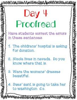 Wonders Grammar Possessive Nouns  Unit 2 Week 5