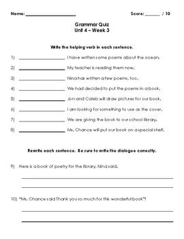 Wonders Grammar Quizzes (Grade 3, Unit 4)