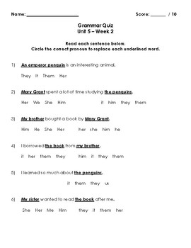 Wonders Grammar Quizzes (Grade 3, Unit 5)