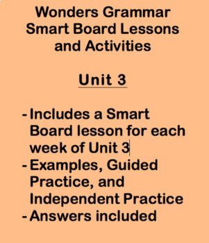 Wonders Grade 3 Grammar Smart Notebook Lessons Unit 3