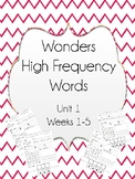 Wonders High Frequency Sight Words Worksheets- Unit 1- Fir