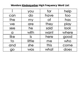 Wonders High Frequency Word Individual Assessment K-2nd