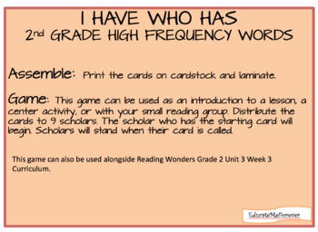 Wonders High Frequency Word Practice