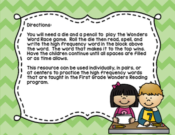 Wonders High Frequency Word Race Unit 6