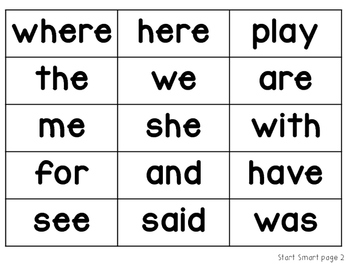 Wonders High Frequency Words