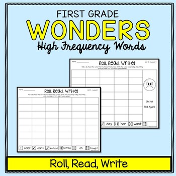 Wonders Sight Words: Roll, Read, Write - First Grade High Frequency Words