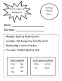 Wonders Homework First Grade - Unit 1 Week 1