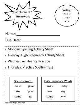 Wonders Homework First Grade - Unit 3