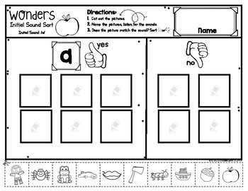 Wonders Initial Sounds Sorts for Kindergarten All Letters