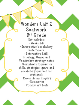 Wonders Interactive Notebook Notes and Worksheets