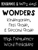 Wonders K, 1st, and 2nd Grade High Frequency Word Printables