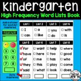 Kindergarten High Frequency Word Lists Book