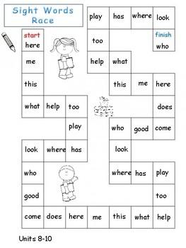 Kindergarten High Frequency Words Board Games