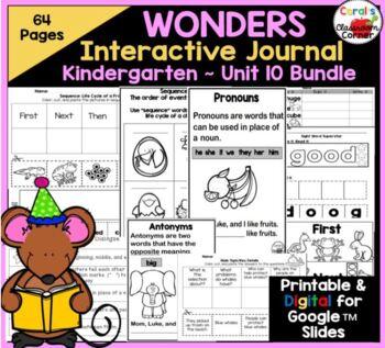 Wonders Kindergarten Interactive Journal Unit 10 BUNDLE