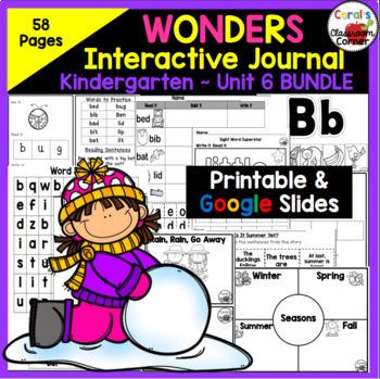 Wonders Kindergarten Interactive Journal Unit 6 BUNDLE