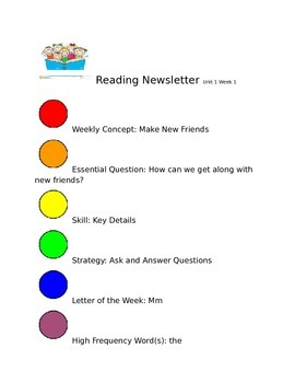 Wonders Kindergarten Newsletters