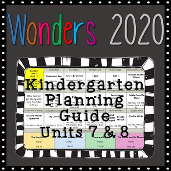 Wonders Kindergarten Planning Guide, Units 7 & 8, Wonders 2020