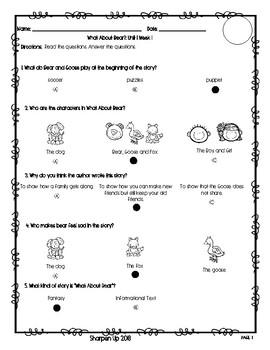 Wonders Kindergarten Reading Test Unit 1 Week 1-3 with Answer Keys