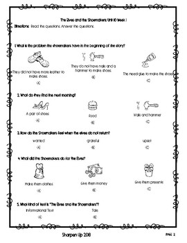 Wonders Kindergarten Reading Test Unit 10 Week 1-3 with Answer Keys