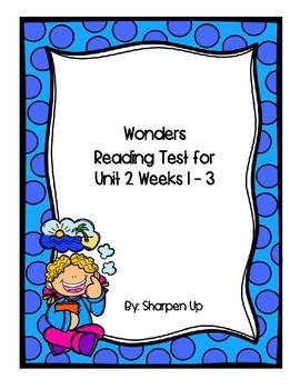 Wonders Kindergarten Reading Test Unit 2 Week 1-3 with Answer Keys