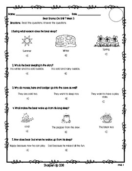 Wonders Kindergarten Reading Test Unit 7 Week 1-3 with Answer Keys