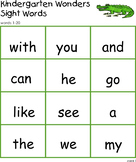 Wonders Kindergarten Sight Word Practice