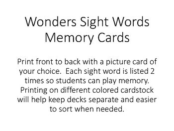 Wonders Kindergarten Sight Words Memory
