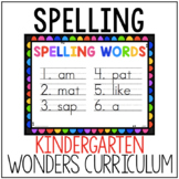 Kindergarten Wonders Spelling List