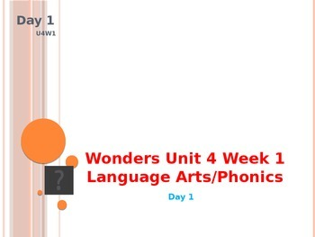 Wonders Kindergarten Unit 4 Week 1