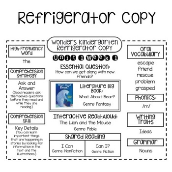 Wonders Kindergarten Unit 1 Week 1-3 Refrigerator Copy