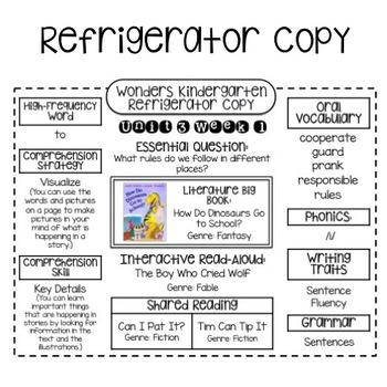 "Wonders Kindergarten Unit 3 ""Refrigerator Copy"""