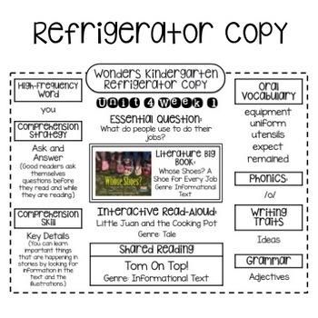 Wonders Kindergarten Unit 4 Week 1-3 Refrigerator Copy