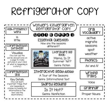 Wonders Kindergarten Units 6-10 Bundle Refrigerator Copy