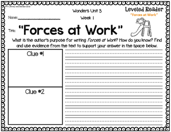 Wonders Leveled Reader Response Unit 3: Live and Learn (2nd Grade)