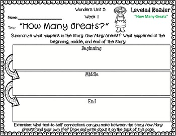 Wonders Leveled Reader Response Unit 5: Let's Make a Difference (2nd Grade)