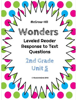 Wonders Leveled Reader Response to Text UNIT 5