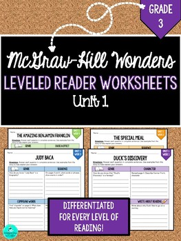 Wonders Leveled Reader Worksheets - GRADE 3, UNIT 1