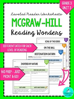 Wonders Leveled Reader Worksheets - GRADE 3, UNIT 3