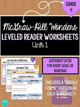 Wonders Leveled Reader Worksheets (PDF & Google Forms) - GRADE 4, UNIT 1