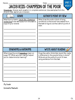 GRADE 4, UNIT 3 - Wonders Leveled Reader Worksheets (PDF & Google Forms)