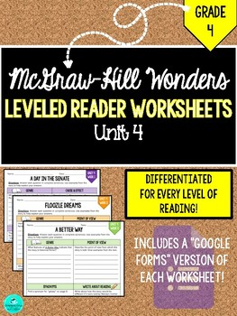 GRADE 4, UNIT 4 - Wonders Leveled Reader Worksheets (PDF & Google Forms)