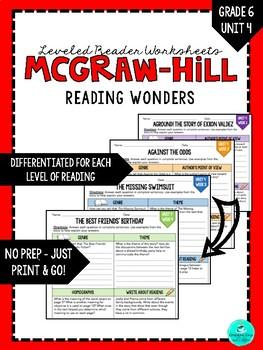 Wonders Leveled Reader Worksheets - GRADE 6, UNIT 4