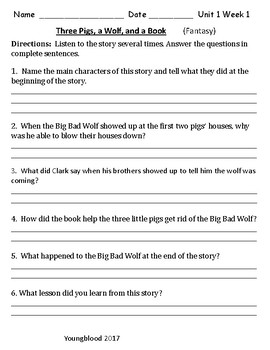 Wonders--Listening Comprehension Questions