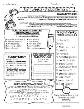 Wonders/Maravillas 2nd Grade Bilingual Homework Coversheets