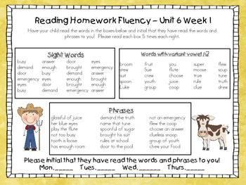 Wonders McGraw-Hill 1st Grade Supplemental Fluency Unit 6