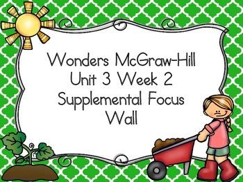 Wonders McGraw-Hill 1st Grade Unit 3 Week 2 Supplemental Focus Wall