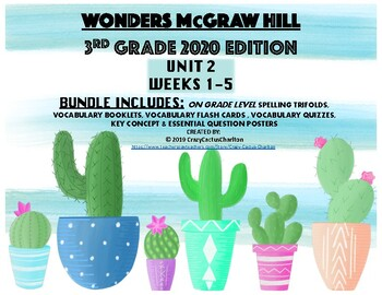 Wonders McGraw Hill 2020 3rd Grade Unit 2 Spelling/Vocabulary Bundle