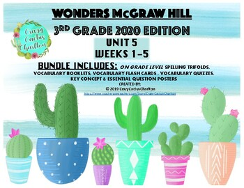 Wonders McGraw Hill 2020 Edition 3rd Grade Unit 5 Spelling/Vocabulary Bundle