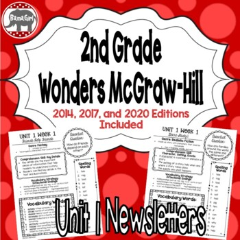 Wonders McGraw Hill 2nd Grade Newsletter/Study Guide - Unit 1 (Weeks 1-5)