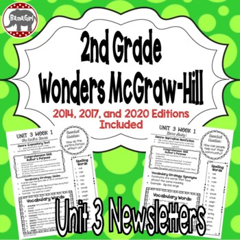 Wonders McGraw Hill 2nd Grade Newsletter/Study Guide - Unit 3 (Weeks 1-5)